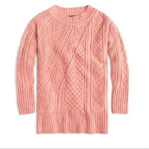 J. Crew Patchwork Cable Knit Oversize Sweater SM